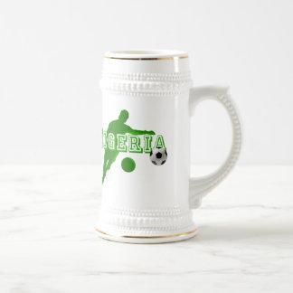 Nigerian bend it Nigeria flag logo shirts & gifts 18 Oz Beer Stein