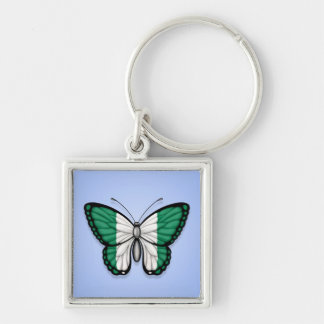 Nigerian Butterfly Flag on Blue Keychains