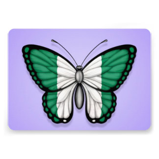 Nigerian Butterfly Flag on Purple Announcement