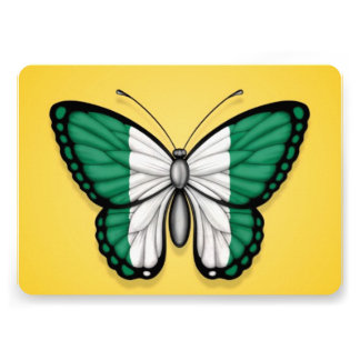 Nigerian Butterfly Flag on Yellow Personalized Invite