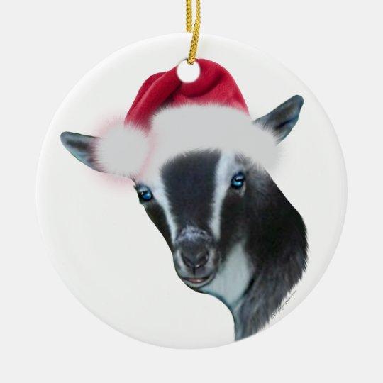 Goat Christmas Ornament.Nigerian Dwarf Goat Santa Hat Christmas Ornament