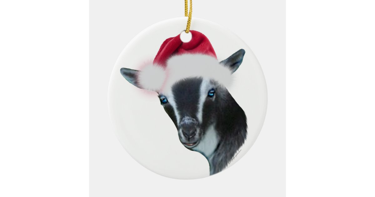 Nigerian Dwarf Goat Santa Hat Christmas Ornament Zazzle Com