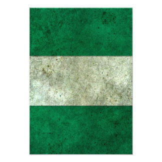 Nigerian Flag Aged Steel Effect Personalized Invites