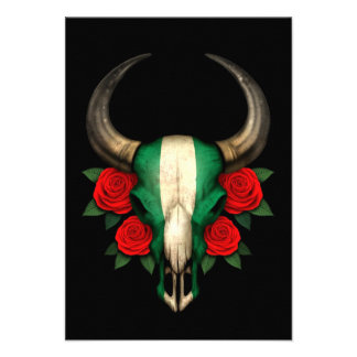 Nigerian Flag Bull Skull with Red Roses Custom Announcements