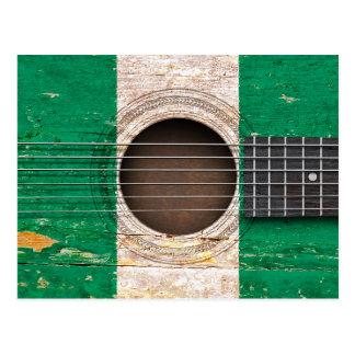 Nigerian Flag on Old Acoustic Guitar Postcard