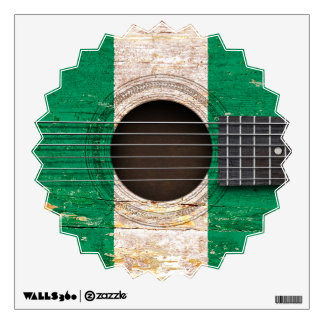 Nigerian Flag on Old Acoustic Guitar Wall Sticker