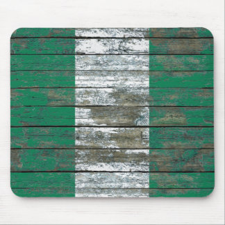 Nigerian Flag on Rough Wood Boards Effect Mouse Pad