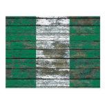 Nigerian Flag on Rough Wood Boards Effect Postcard