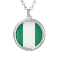 Nigerian flag silver plated necklace