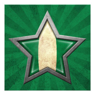 Nigerian Flag Star with Rays of Light Invitation