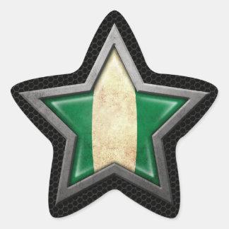 Nigerian Flag Star with Steel Mesh Effect Star Sticker