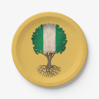 Nigerian Flag Tree of Life Customizable 7 Inch Paper Plate