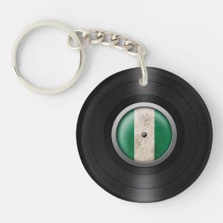 Nigerian Flag Vinyl Record Album Graphic Keychain