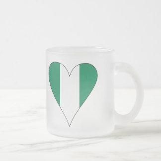 Nigerian Heart Flag Funky Black Border 10 Oz Frosted Glass Coffee Mug
