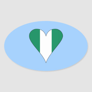 Nigerian Heart Flag Funky Black Border Oval Sticker