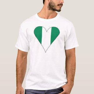 Nigerian Heart Flag Funky Black Border T-Shirt