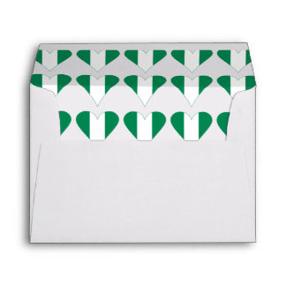 Nigerian Heart Flag Funky Green Border Envelope