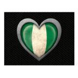 Nigerian Heart Flag Steel Mesh Effect Post Card