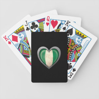 Nigerian Heart Flag with Metal Effect Bicycle Playing Cards