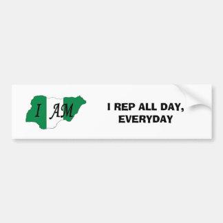 nigerian, I REP ALL DAY, EVERYDAY Bumper Sticker