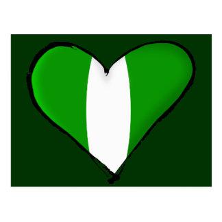 Nigerian love I heart Naija hearrt flag of Nigeria Postcard