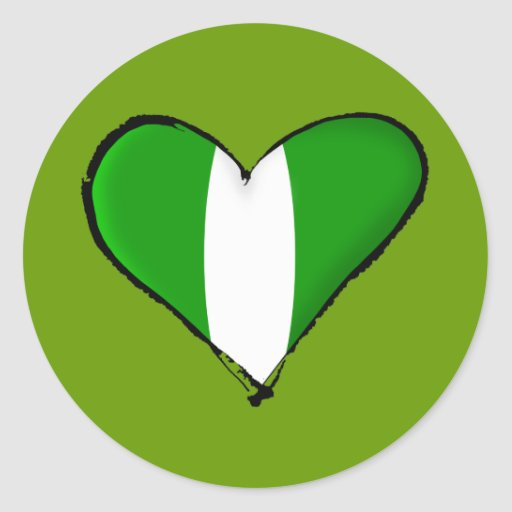Nigerian love I heart Naija hearrt flag of Nigeria Classic Round Sticker