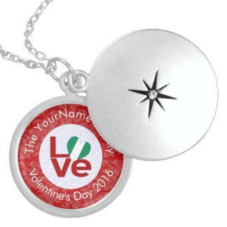 Nigerian LOVE White on Red Locket Necklace