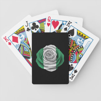 Nigerian Rose Flag on Black Bicycle Playing Cards
