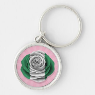 Nigerian Rose Flag on Pink Keychains