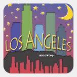 Nighlife del horizonte de Los Ángeles Calcomanías Cuadradas Personalizadas