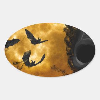 night-9951-scarry pegatina ovalada