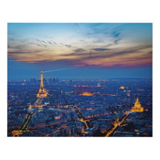 Night aerial view of Paris showing city lights… Panel Wall Art