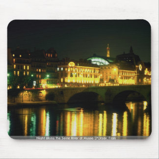 Night along the Seine River at Musee D Orsay Fran Mousepads