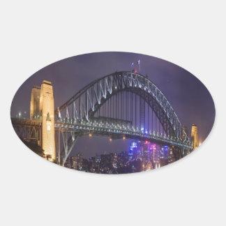 night and beauty Sydney Harbour Bridge Oval Sticker