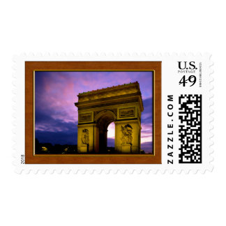 Night at  Arc de Triomphe Paris France Postage