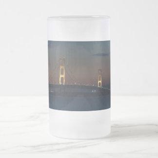Night At Mackinac Bridge Frosted Glass Beer Mug