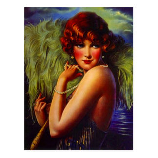 Night At The Beach Flapper Girl & Plumes Postcard