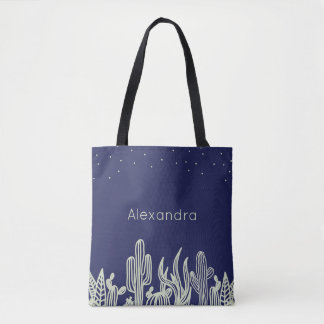 Night at the Desert Cactus  - Personalized Name Tote Bag