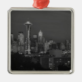 Night at the seattle metal ornament