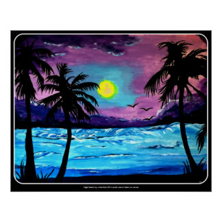 'Night Beach' painting on an poster