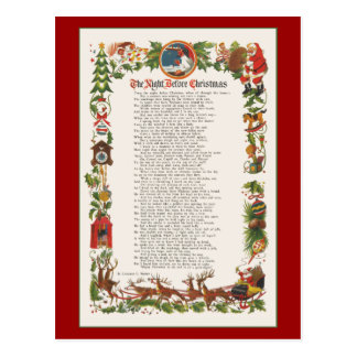 Night Before Christmas Decorated Poem Postcard