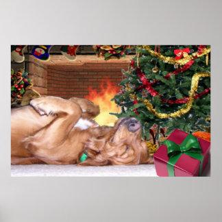 NIGHT BEFORE CHRISTMAS - GOLDEN RETRIEVER SLEEPING POSTER