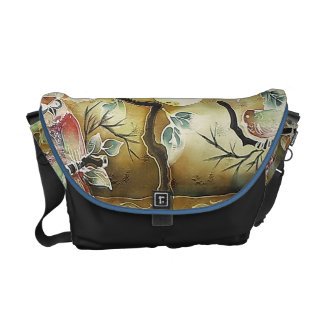 Night Birds Silk Art Painting Courier Bag