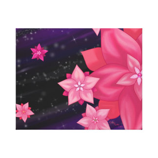 Night Blossoms Wrapped Canvas Print