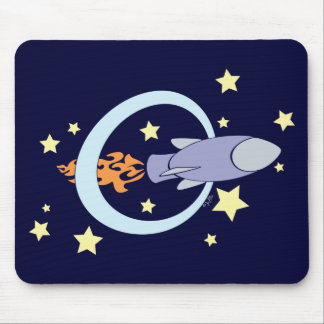 Night Blue Rocket Kids Retro Space Mouse Pad