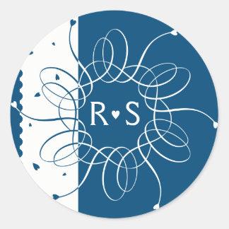 Night Blue Romantic Rosette Classic Round Sticker