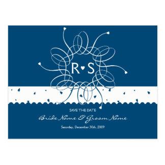 Night Blue Romantic Rosette Save The Date Postcard