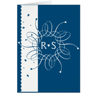 Night Blue Romantic Rosette Wedding Invitation
