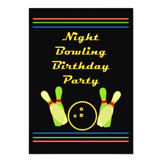 Night Bowling Birthday Party Neon Retro Styling Card