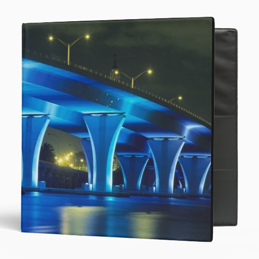 Night bridge at Port of Miami, Florida Vinyl Binder